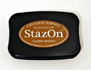 "Tampon encreur marron sable ""saddle brown"" Stazon"